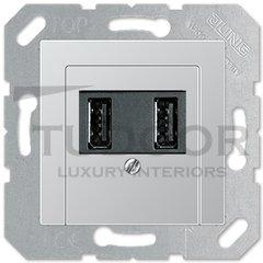 Зарядное USB устройство на два выхода, 2х750 мА / 1х1500 мА, пластик под алюминий