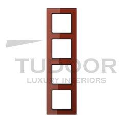Рамка четверная, для горизонтального/ вертикального монтажа, стекло красное глянцевое