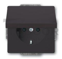 Розетка с заземляющими контактами 16 А / 250 В, с крышкой и защитой от детей, автоматические зажимы, антрацит