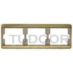 Рамка тройная, для горизонтального монтажа, металл под золото