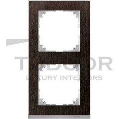 Рамка двойная, для горизонтального/ вертикального монтажа, венге/алюминий