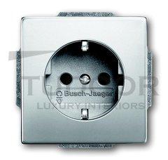 Розетка с заземляющими контактами 16 А / 250 В, с защитой от детей, автоматические зажимы, с покрытием против отпечатков пальцев, нержавеющая сталь