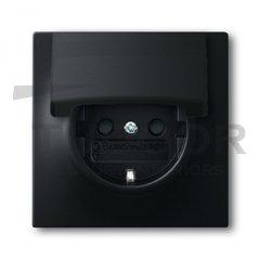 Розетка с заземляющими контактами 16 А / 250 В, с крышкой и защитой от детей, автоматические зажимы, черный бархат