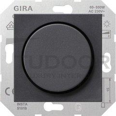 Светорегулятор поворотный 60-600 Вт. для ламп накаливания и галог.220B, пластик антрацит