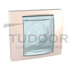 Розетка с заземляющими контактами 16 А / 250 В, с откидной крышкой и уплотнительной мембраной IP44, поставляется только в собранном виде, не требует комплектации рамкой, пластик кремовый глянцевый