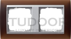 Рамка двойная, для горизонтального/вертикального монтажа, пластик матово-коричневый/алюминий