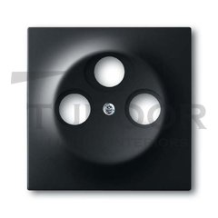 Накладка (центральная плата) для TV-R-SAT розетки, серия impuls, цвет чёрный бархат