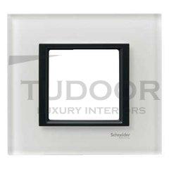 Рамка одинарная, для горизонтального/вертикального монтажа, белое стекло