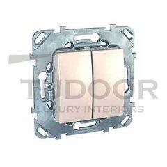 Выключатель двухклавишный, проходной (вкл/выкл с 2-х мест) 10 А / 250 В, пластик кремовый глянцевый