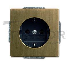Розетка с заземляющими контактами 16 А / 250 В, с защитой от детей, автоматические зажимы, античная латунь/антрацит