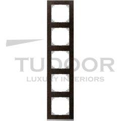Рамка пятерная, для горизонтального/ вертикального монтажа, венге/алюминий