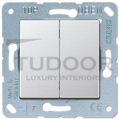 Выключатель двухклавишный, проходной (вкл/выкл с 2-х мест) 10 А / 250 В, пластик под алюминий