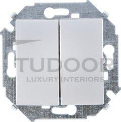 Выключатель двухклавишный, проходной (вкл/выкл с 2-х мест), 10 А / 250 В, алюминий