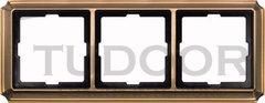 Рамка тройная, для горизонтального/ вертикального монтажа, античная латунь