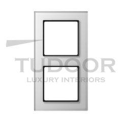 Рамка двойная, для горизонтального/ вертикального монтажа, белое стекло