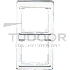 Рамка двойная, для вертикального монтажа, белое стекло