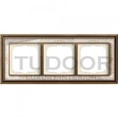 Рамка тройная, для горизонтального/вертикального монтажа, латунь античная/белая роспись