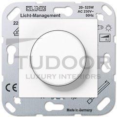 Светорегулятор поворотный 20-525 Вт. для ламп накаливания и галог.220В, пластик белый глянцевый
