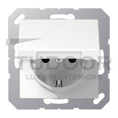 Розетка с заземляющими контактами 16 А / 250 В, с откидной крышкой и защитой от детей, автоматические зажимы, пластик белый глянцевый