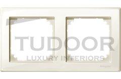 Рамка двойная, для горизонтального/ вертикального монтажа, пластик бежевый