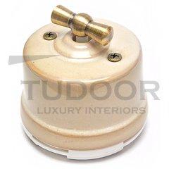 Ретро выключатель поворотный 2-х позиционный для наружного монтажа проходной, бежевый