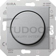 Светорегулятор поворотный 60-600 Вт. для ламп накаливания и галог.220B, пластик под алюминий