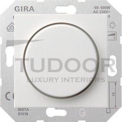 Светорегулятор поворотный 60-600 Вт. для ламп накаливания и галог.220B, пластик белый глянцевый