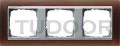 Рамка тройная, для горизонтального/вертикального монтажа, пластик матово-коричневый/алюминий