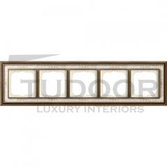 Рамка пятерная, для горизонтального/вертикального монтажа, латунь античная/белая роспись