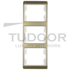 Рамка тройная, для вертикального монтажа, металл под золото