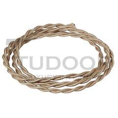 Ретро кабель витой, медный многожильный провод, с двойной ПВХ изоляцией, покрыт специальными негорючими нитями, 2х1,5 карамель