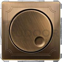 Светорегулятор поворотный 60-400 Вт. для ламп накаливания и галог.220В, античная латунь
