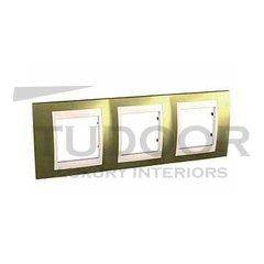 Рамка тройная, для горизонтального монтажа, золото/бежевый