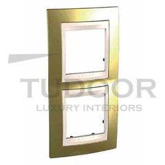 Рамка двойная, для вертикального монтажа, золото/бежевый