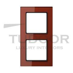Рамка двойная, для горизонтального/ вертикального монтажа, стекло красное глянцевое