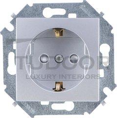 Розетка с заземляющими контактами 16 А / 250 В, с защитой от детей, алюминий