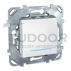 Выключатель одноклавишный с подсветкой, проходной (вкл/выкл с 2-х мест) 10 А / 250 В, пластик белый