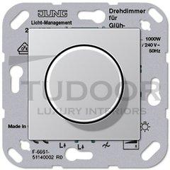 Светорегулятор поворотный 100-1000 Вт. для ламп накаливания и галог.220B, пластик под алюминий