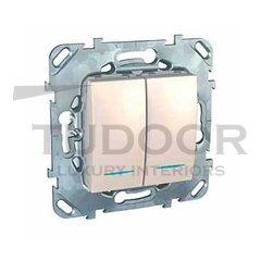 Выключатель двухклавишный с подсветкой, проходной (вкл/выкл с 2-х мест) 10 А / 250 В, пластик кремовый глянцевый