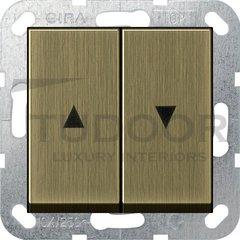 Выключатель управления жалюзи кнопочный, 10 А / 250 В, бронза