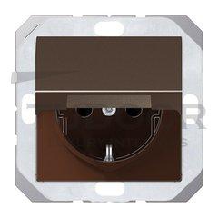Розетка с заземляющими контактами 16 А / 250 В, с откидной крышкой и защитой от детей, с уплотнительной мембраной IP44, автоматические зажимы, мокко