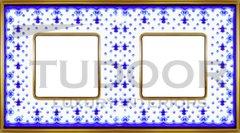 Рамка двойная, для горизонтального/ вертикального монтажа, голубая лилия/блестящее золото