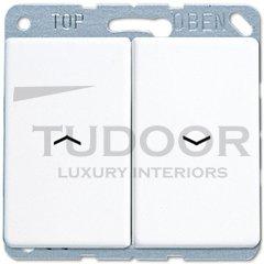 Выключатель управления жалюзи кнопочный, 10 А / 250 В, пластик белый глянцевый