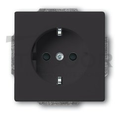 Розетка с заземляющими контактами 16 А / 250 В, с защитой от детей, автоматические зажимы, антрацит