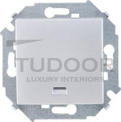 Выключатель одноклавишный, с подсветкой, 10 А / 250 В, алюминий