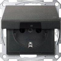 Розетка с заземляющими контактами 16 А / 250 В, с откидной крышкой и уплотнительной мембраной IP44, пластик антрацит