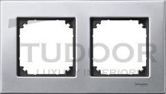 Рамка двойная, для горизонтального/ вертикального монтажа, металл платина-серебро